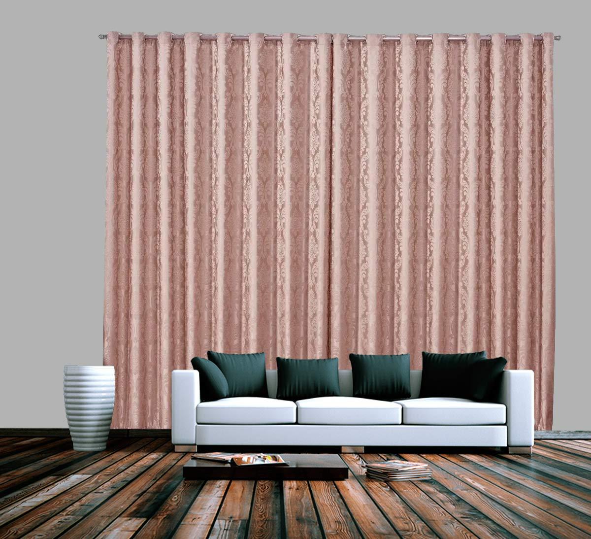 Cortina De Jacquard Rosé Coleção Primavera 4,00x2,50