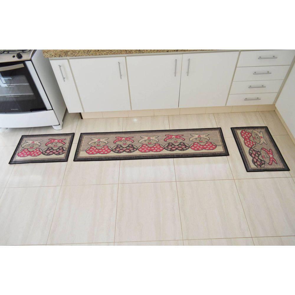 5f4865a36 Kit tapetes para cozinha 3 peças em tear manual - Fio grosso ...