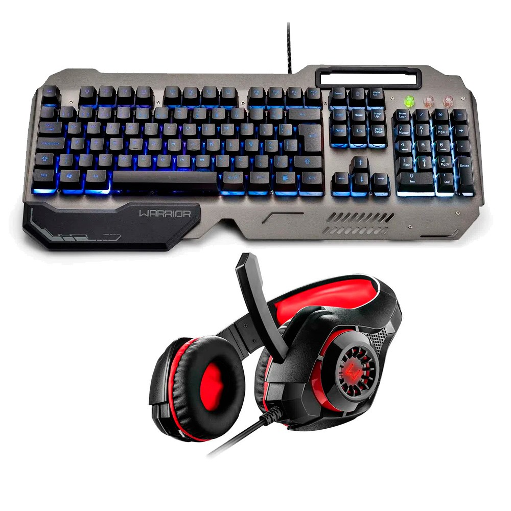 Kit teclado e headset gamer