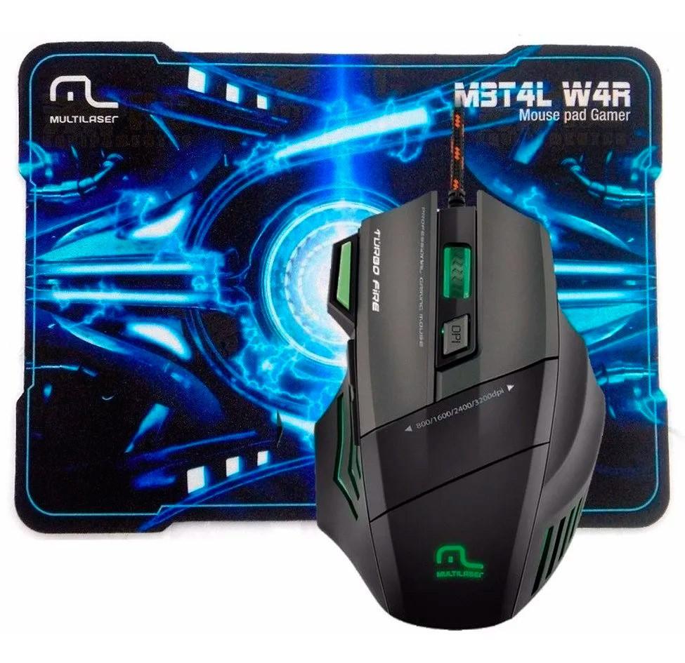 Mouse Gamer Metal War Fire 7 Botões 3200dpi Mo207 Multilaser