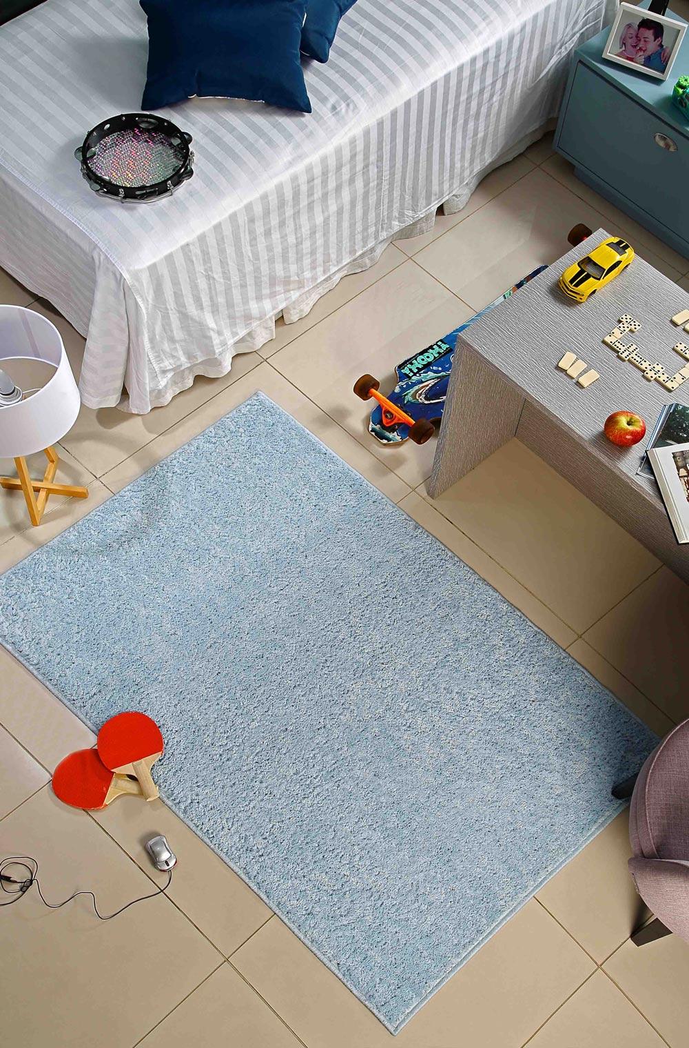 Tapete Passadeira Peludo Classic 066 x 120 cm Azul Bebê