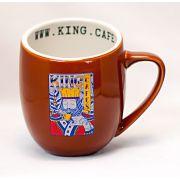 Caneca Grande 360 ml (12 oz.) Marrom Brilhante com Logo King