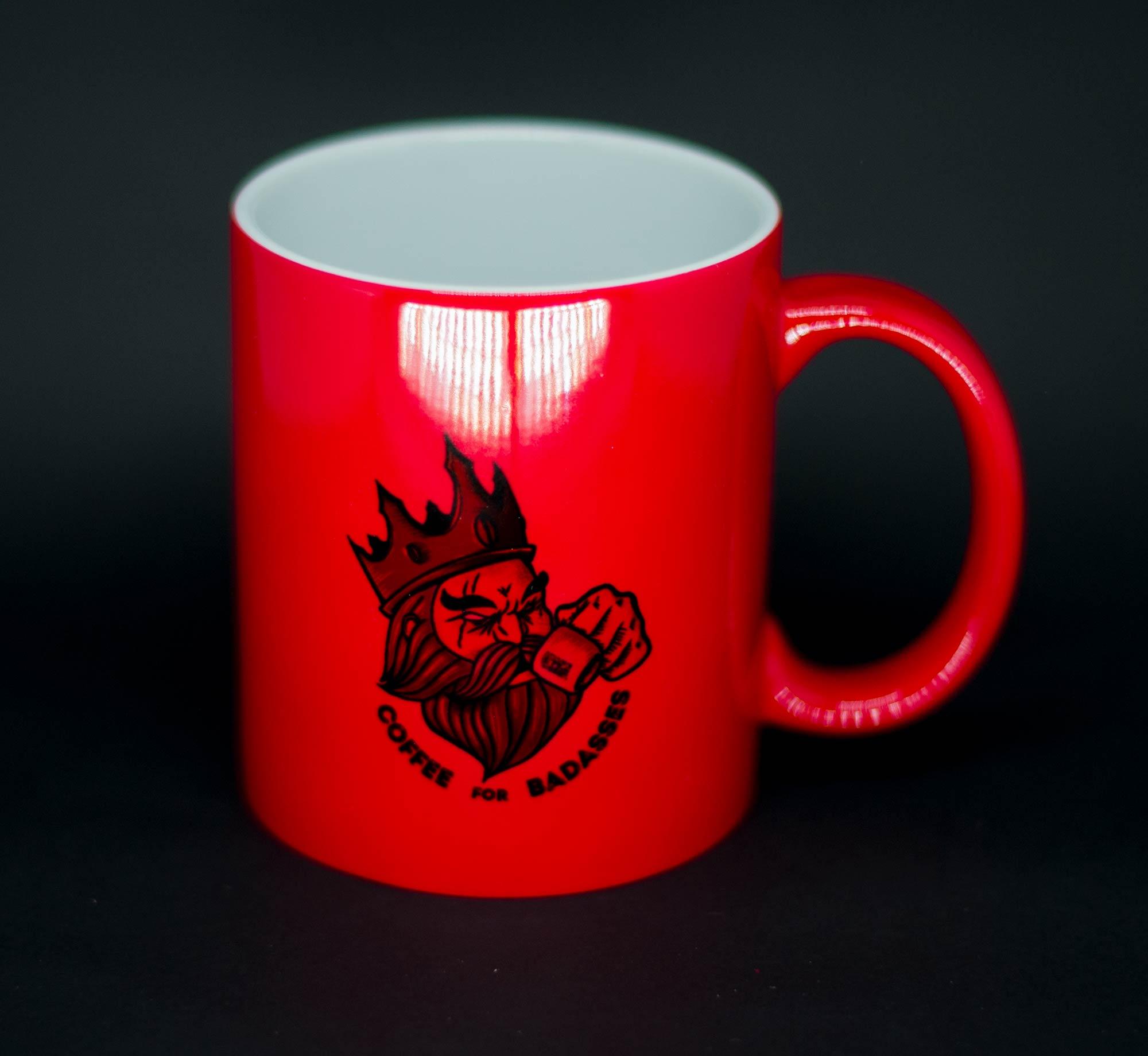 Caneca Mágica Coffee for Badasses Vermelha Brilhante