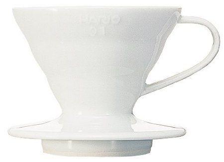 Suporte cerâmico p/ café Hario V60 Tam 1 Peq Branco - VDC-01W