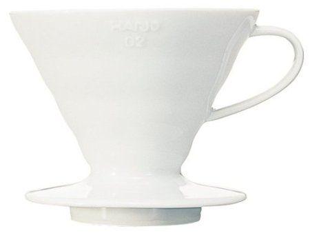 Suporte cerâmico p/ café Hario V60 Tam 2 Méd Branco - VDC-02W