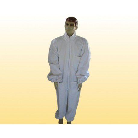 Macacão com ziper frontal brim branco sem máscara