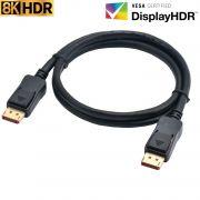 Cabo DisplayPort 1.4 8K 60Hz HDR 7680x4320 50 CM 0,50m
