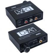 Conversor Audio Digital Coaxial Toslink com Controle de Volume Para Analogico Rca P2