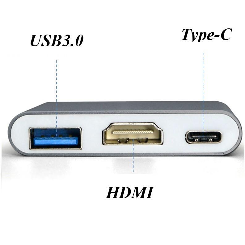 Adaptador 3x1- Usb 3.1 Tipo-c Thunderbolt 3.0 X Hdmi Usb T-c