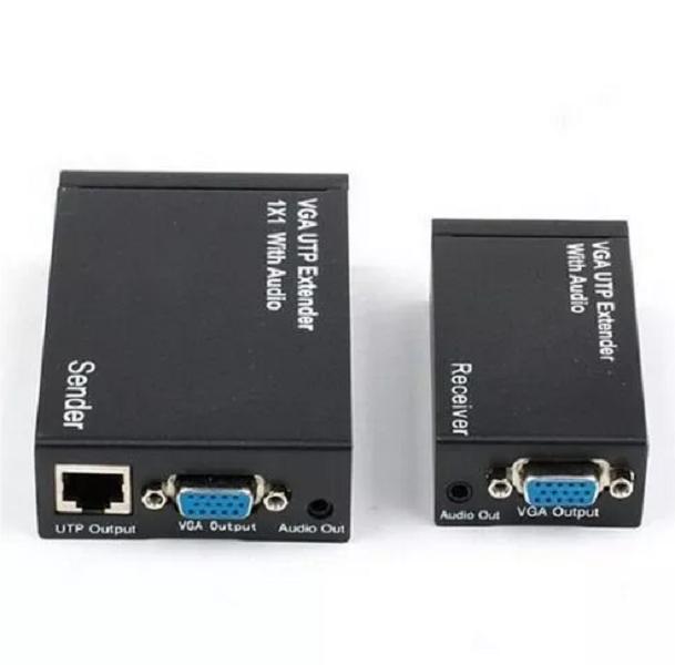 Adaptador Extensor Vga 300m Cat5e/6 Utp C/ Audio E Divisor