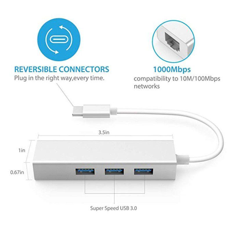 Adaptador USB-C 3.1 para RJ45 Ethernet Hub USB-C USB 3.0
