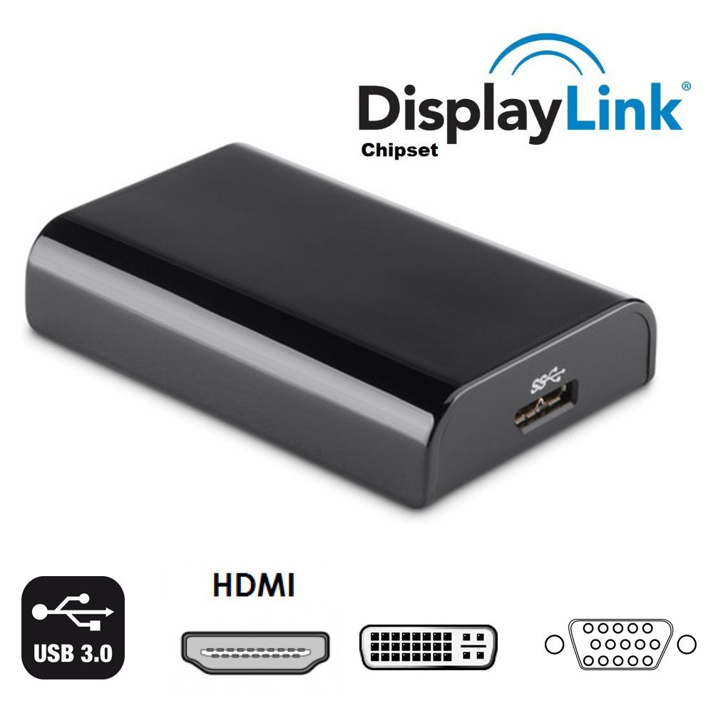 Adaptador Vídeo Usb 2.0 3.0 HDMI VGA Dvi Chipset Displaylink Ic  Usb Displaylink