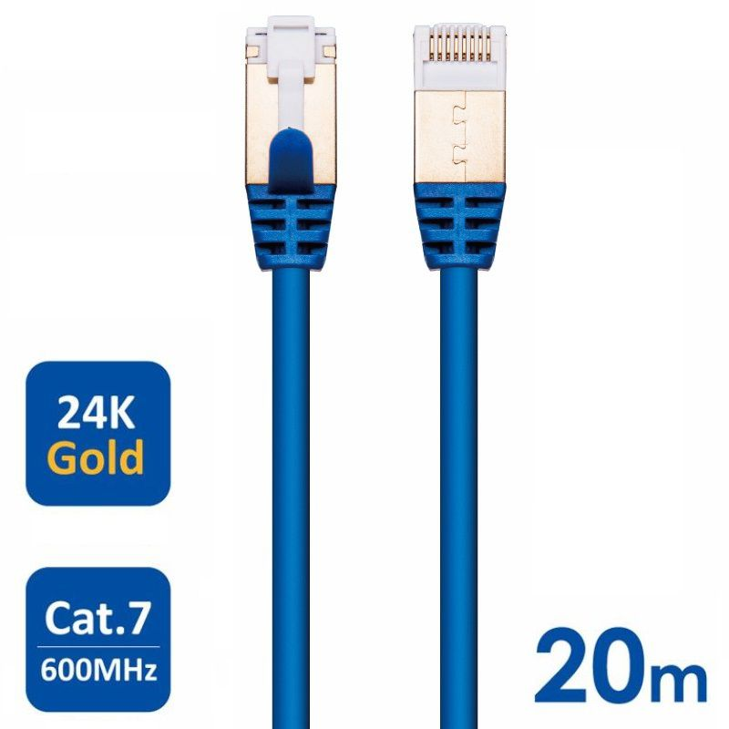 Cabo CAT7 PATCH CAT7 27AWG 10 GBPS 600 MHZ Ultra Durable High Performance 20 Metros 20m