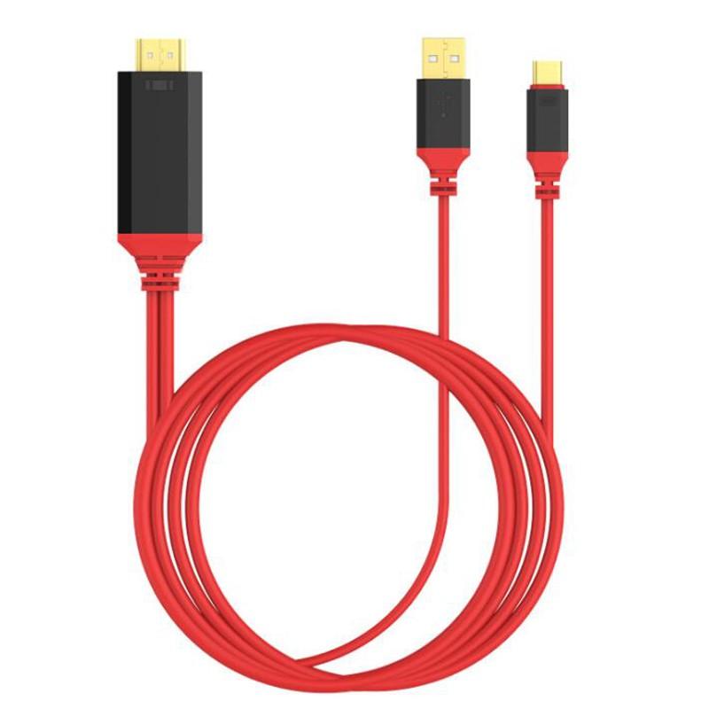 Cabo USB-c para HDMI 2m 4k x 2k @30Hz USB 3.1 UHD Vermelho