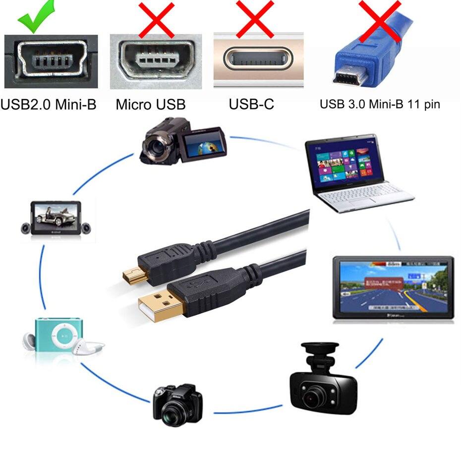 Cabo USB Mini USB Mini-B 5m 5 Metros filtro Dados + Energia