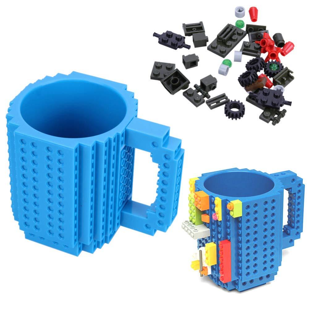 Caneca Lego Bloco de Montar Compativel com peças Lego Azul