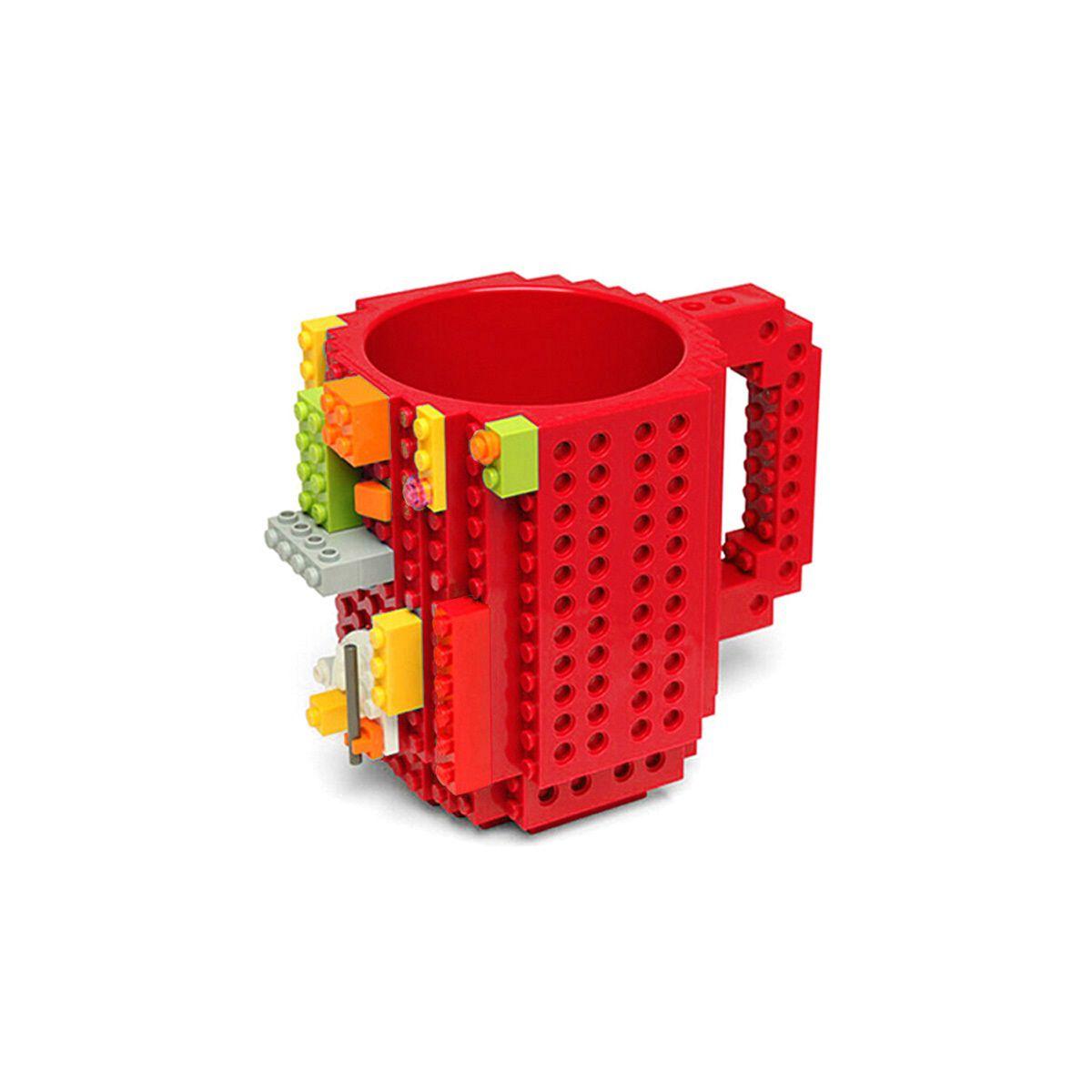 Caneca Lego Bloco de Montar Compativel peças Lego Vermelha