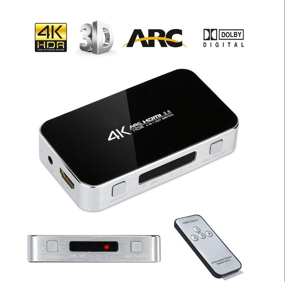 Chave Seletora Hub Switch Hdmi 4 Portas 4k Arc saida Audio