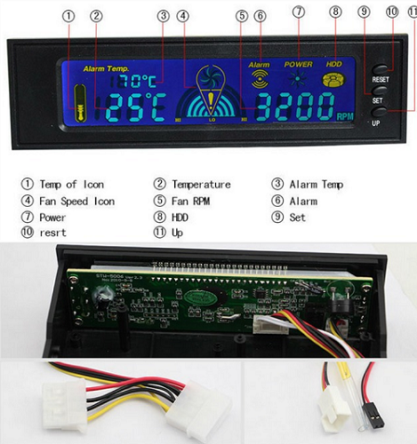 Controlador Fan Cooler Led Controle De Temperatura 1 Baia