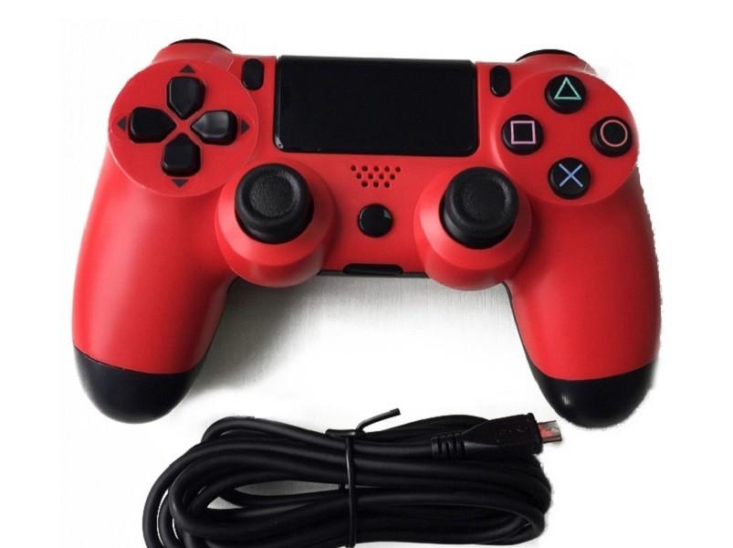 Controle Playstation 4 C/ Fio 2m Doubleshock 4 Vermelho
