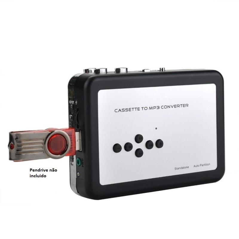 Conversor Fita Cassete K7 P/ Mp3 Grava Direto no Pen Drive