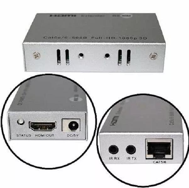Extensor Hdmi 30m C/ Função Controle Remoto Cabo Cat5e/cat