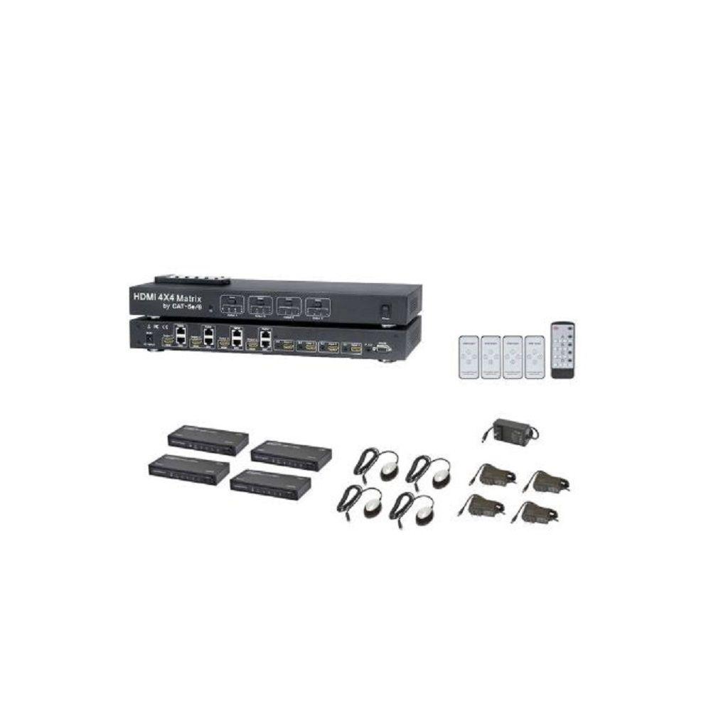 HDMI Switcher Matrix 4x4 extensor cabo Cat5/6 40m 4 Receptor