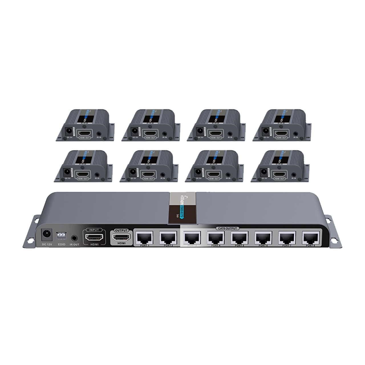 Kit Extensor Divisor Splitter Hdmi 1x8 Cat5/6 Lkv718pro