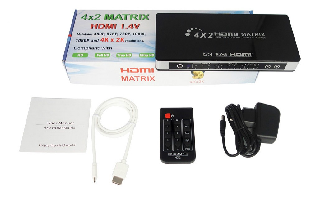 Matrix HDMI 4x2 4k 30Hz 1.4v C/ extrator de audio embutido