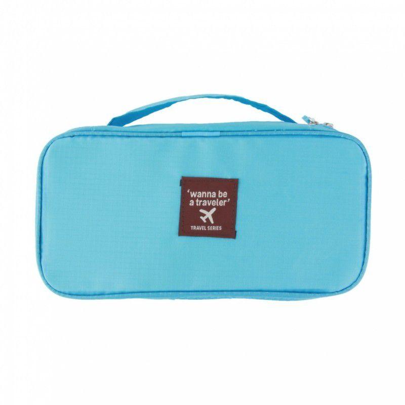 Necessaire Organizador Viagem Porta Calcinha Lingerie Azul