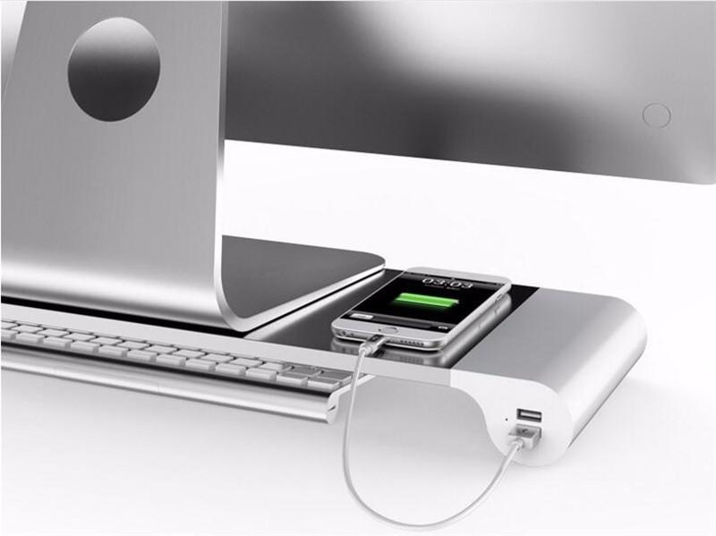 Suporte Base Para Monitor Em Aluminio C/ Tomada Usb Embutida