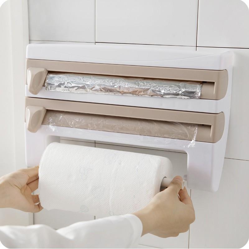 Suporte Porta Rolo Toalha Aluminio Filme Cozinha 3 X 1 Papel bege
