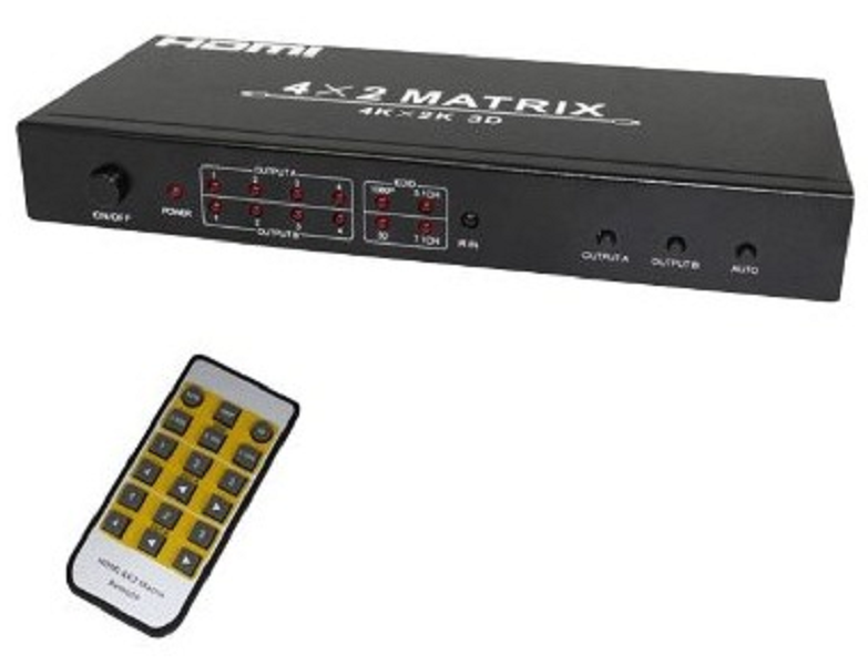 Switch Splitter Hdmi 4x2 Matrix 4 Entradas 2 Saídas Hdmi