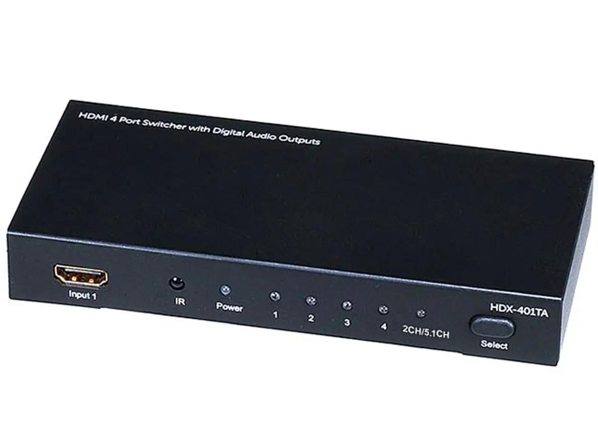 Switcher hdmi 4x1 Extrator de Audio Analogico Toslink c/ IR