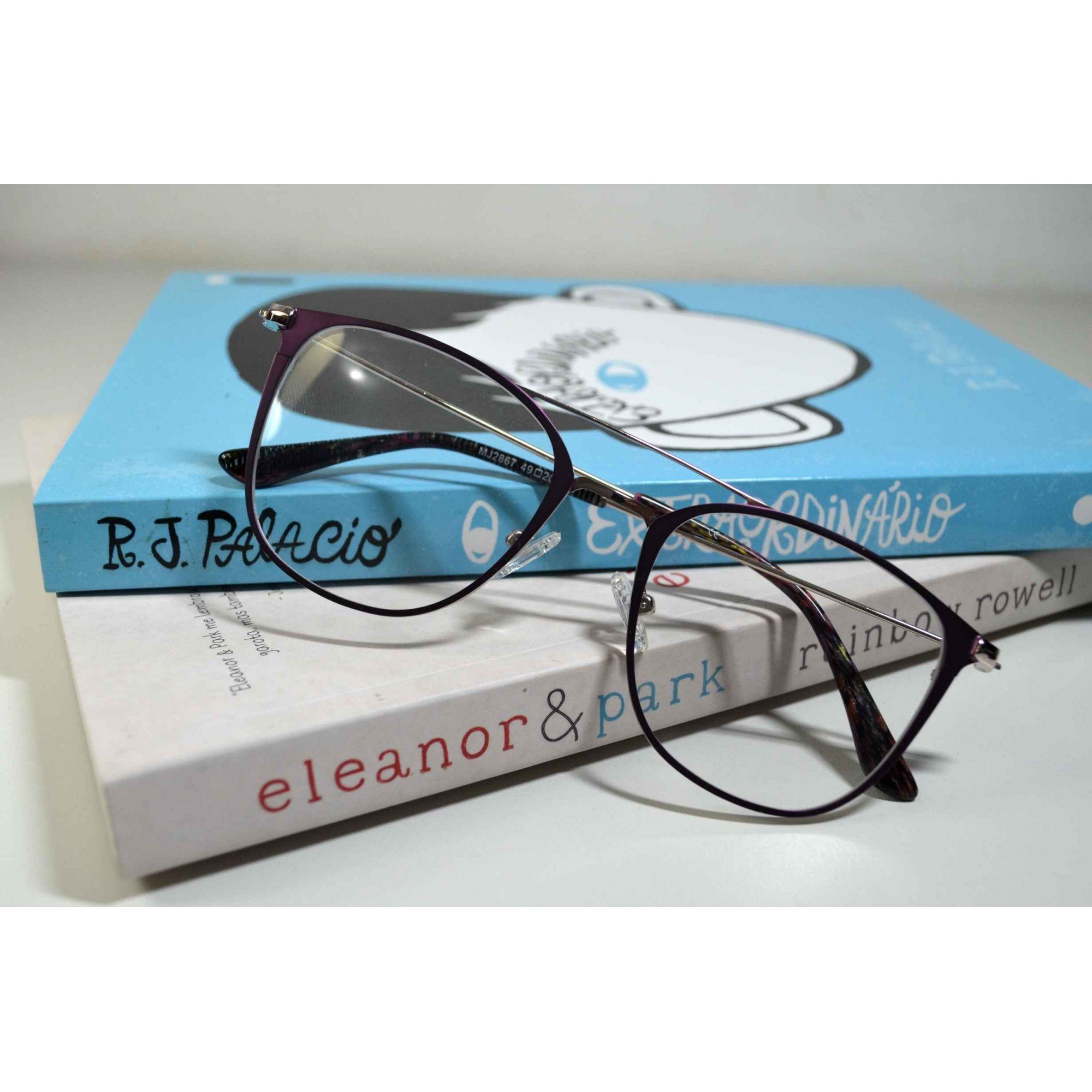 bfa6f04fc Armação Óculos Grau Feminino Aviador Wiikglass Violeta