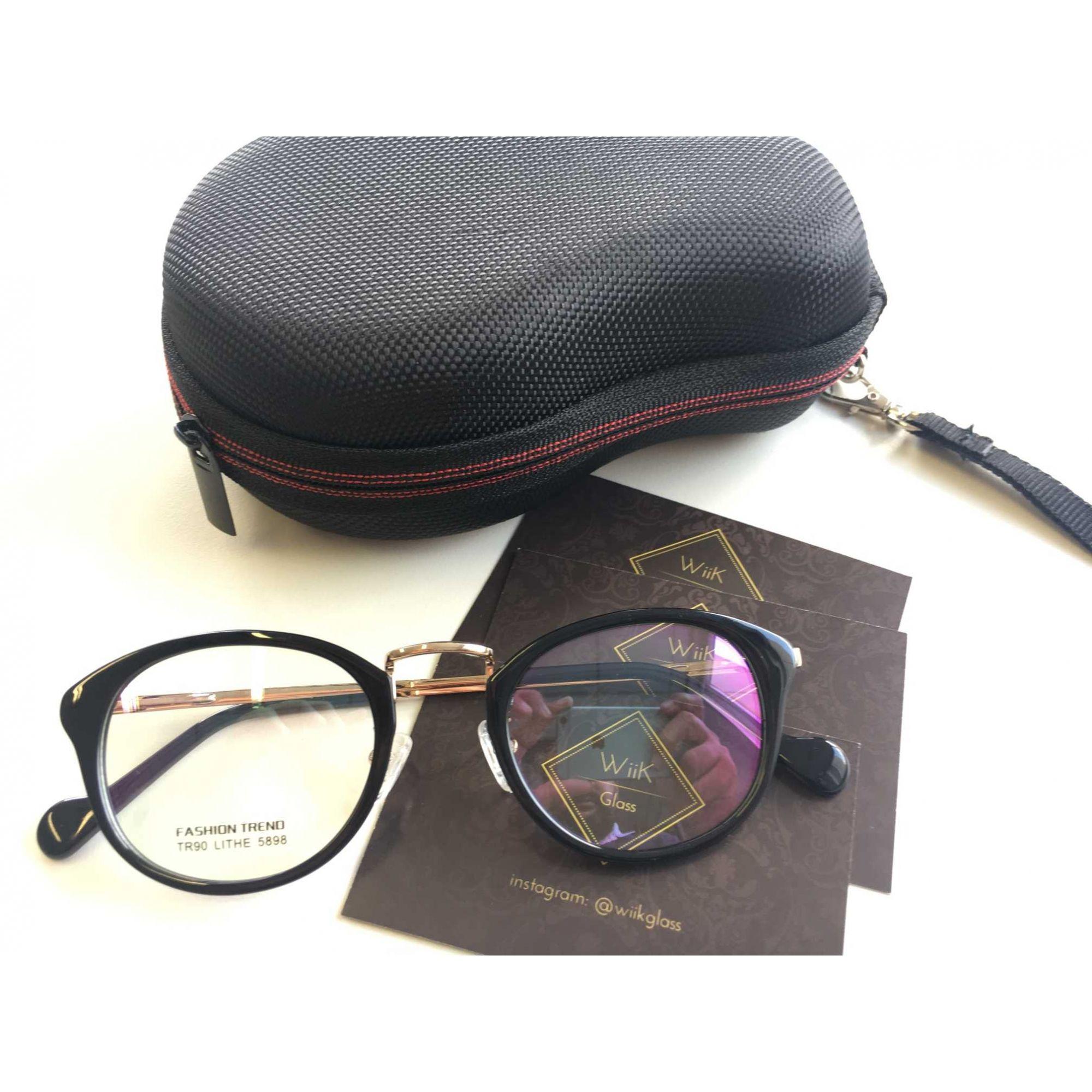 7866e2738a277 Óculos Armação Grau Feminino Redondo Wiikglass Geek Preto