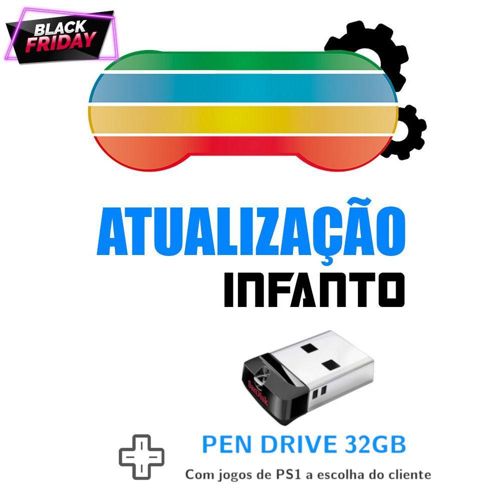 Atualização Infanto v3.4.1 + Pen Drive 32GB com jogos de PS1