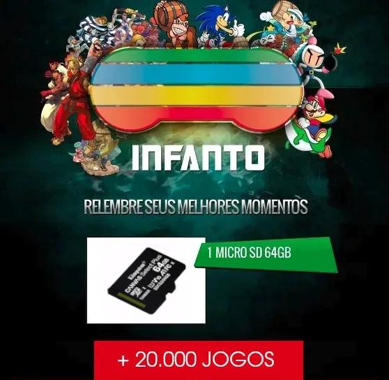 Memória 64Gb - Sistema Infanto v3.4.1 - 20 mil jogos - Raspberry Pi