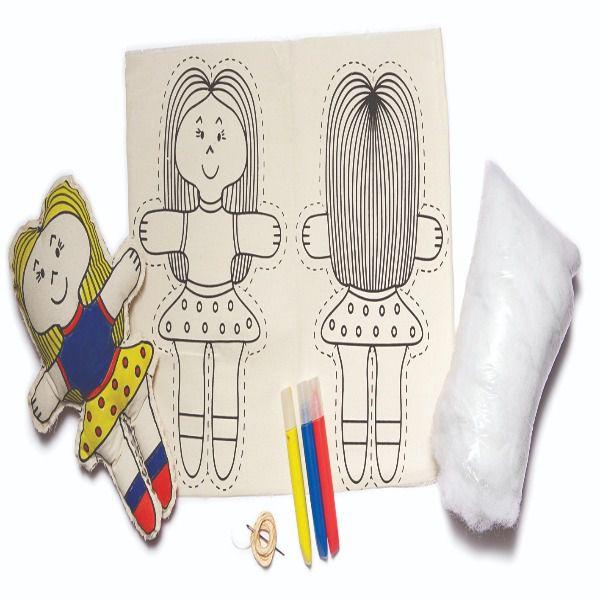 Boneca de Pano Para Pintar e Alinhavar - Alegria Sem Bateria  - Alegria Sem Bateria