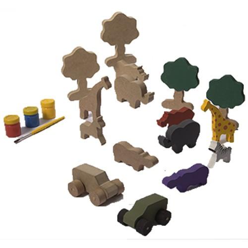 Brinquedo Para Pintar e Brincar Safari - Alegria Sem Bateria  - Alegria Sem Bateria