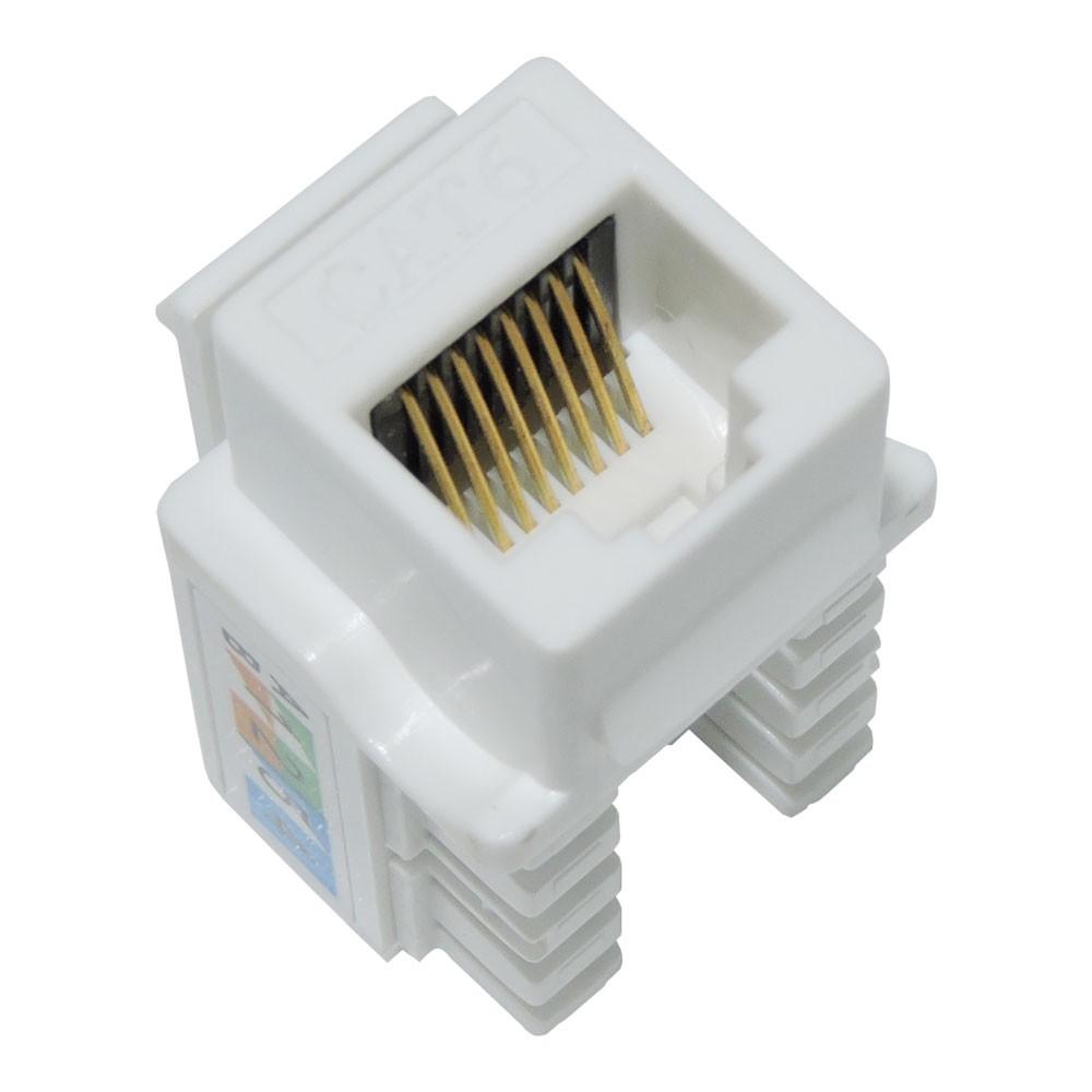 100 Pç Conector Fêmea Rj45 Keystone Cat6 Pier Branco Tomada 8 Vias