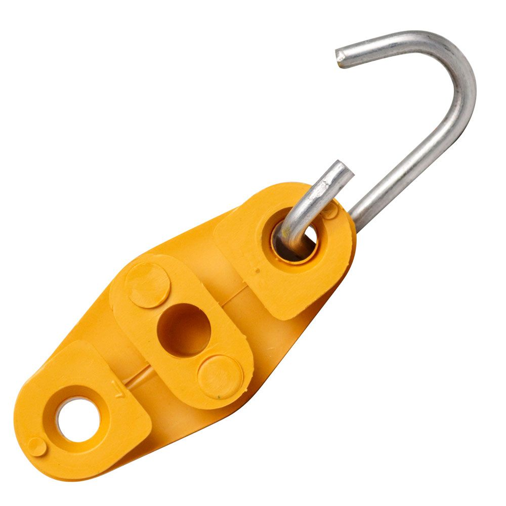 100 Unidades de Esticador Drop Tipo 8 Amarelo para Poste, Fio Fe, Cabo UTP, Rj45, Externo