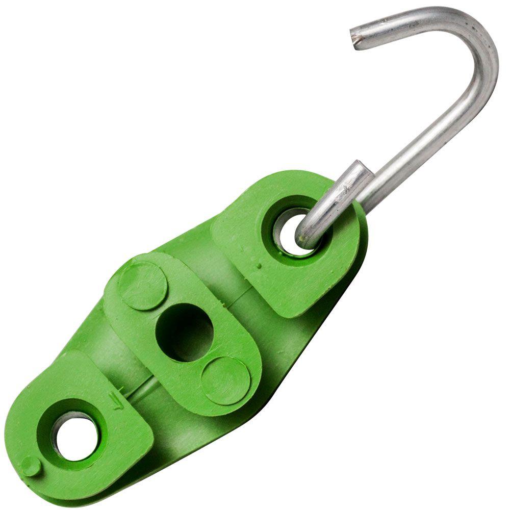100 Unidades de Esticador Drop Tipo 8 Verde para Poste, Fio Fe, Cabo UTP, Rj45, Externo