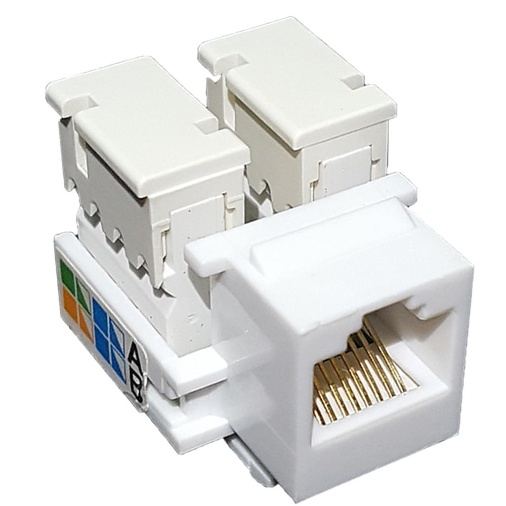 10 Pçs de Conector Fêmea Keystone RJ45 Cat5e Branco - Pier