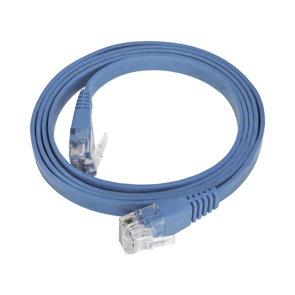 10 Unidades de Patch Cord Flat Cable RJ45 Gigabit Cat6 1m Azul