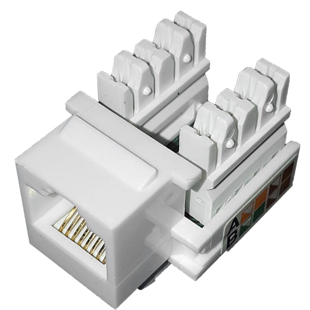 12 Pçs de Conector Fêmea Keystone RJ45 Cat5e Branco - Pier