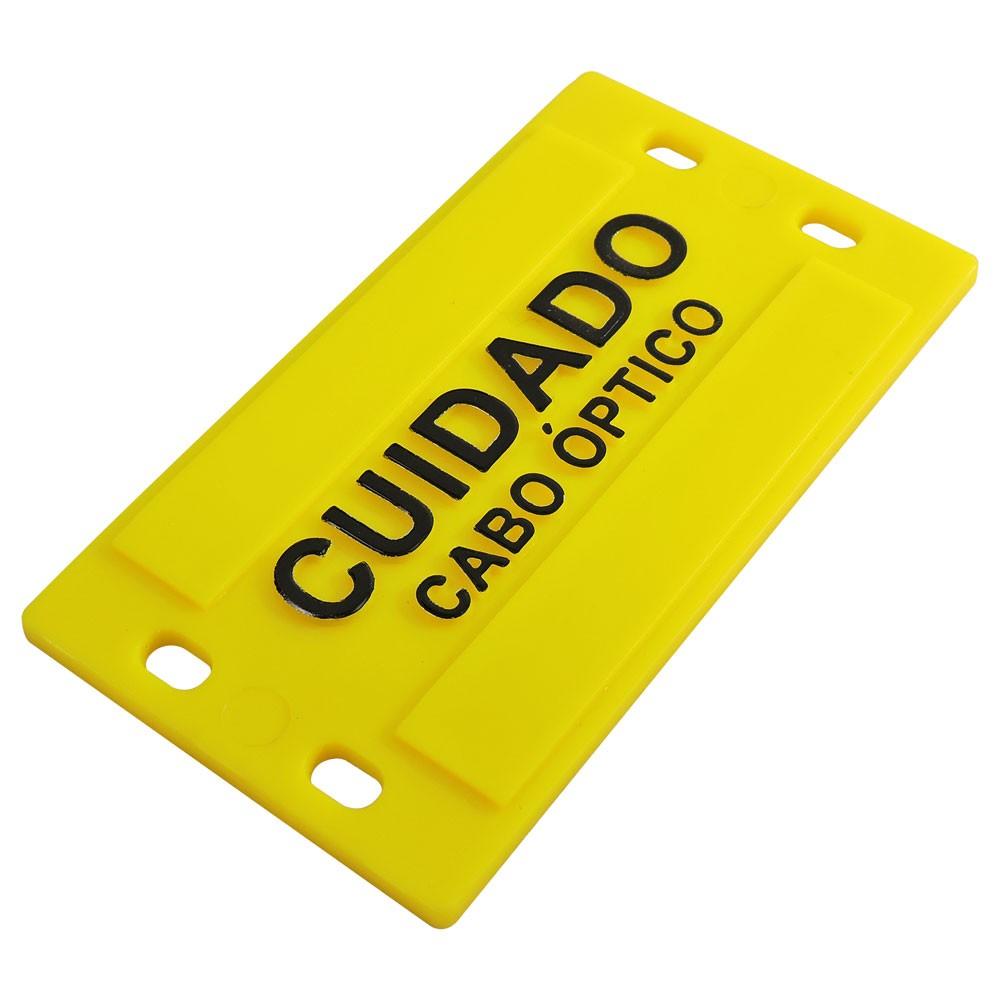 150 unidades Plaqueta de Identificação 3mm (9x4cm) em plástico c/ Relevo amarela