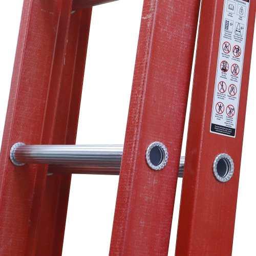 Escada Múltipla Extensível e Tesoura em Fibra de Vidro e Degrau de Alumino ETAF 08X13 - 2,50 X 4,34M