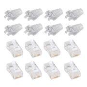 100 Capas Snap In Transparente + 100 Conectores Rj45 Plug