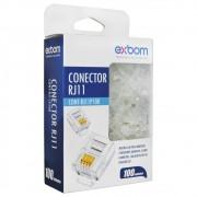 100 Conectores Macho Plug RJ11 Cat3 6X4 - EXBOM